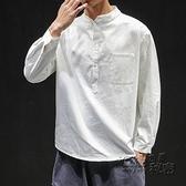 男士襯衫長袖中國風立領百搭襯衣男寬鬆休閒簡約春季套頭衣服男潮 雙十二全館免運