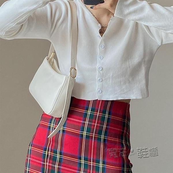 包包女韓版2021新款ins復古百搭側背腋下包法棍包側背包手提包包 618促銷
