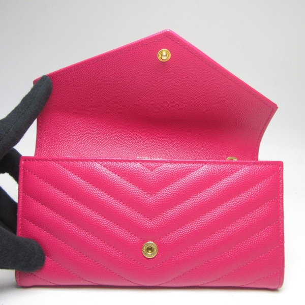 Saint Laurent YSL 聖羅蘭 人字紋荔枝牛皮釦式二折式長夾 Monogram Wallet BRAND OFF