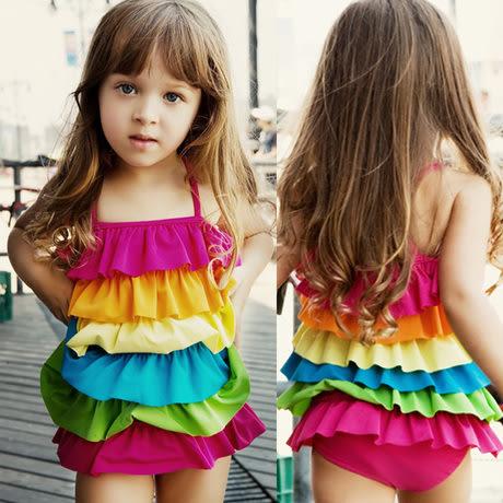 童泳裝 女童時尚彩虹款連身衣泳裝(肩帶可調) S6D001 AIB小舖