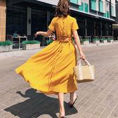 短袖洋裝 素色 鈕扣 鏤空 設計 長裙 短袖 洋裝 連身裙【NDF6290】 icoca  05/10