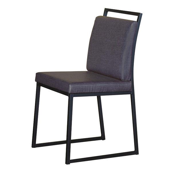 【森可家居】派克黑腳亞麻皮餐椅(藍皮) 7HY437-2