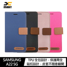 【愛瘋潮】XMART SAMSUNG Galaxy A22 5G 斜紋休閒皮套 可立 插卡 磁扣 手機殼