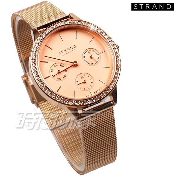 STRAND BY OBAKU 女神降臨 三眼多功能 完美鑽錶 玫瑰金色 不銹鋼 米蘭帶 女錶 S704LMVVMV