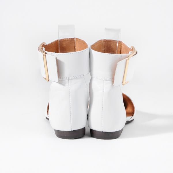 ALL BLACK  繫帶簍空平底尖頭鞋*白色