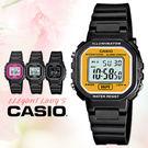 CASIO 手錶專賣店 卡西歐 LA-20WH-9A 中性錶 白面黃框  壓克力鏡面塑膠錶帶 數字 電子錶 碼錶功能