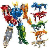 古迪積木霸王龍玩具男孩子恐龍拼裝變形機器人金剛益智力兒童