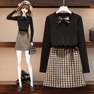 VK精品服飾 韓系大碼洋氣千鳥格毛衣裙顯瘦套裝長袖裙裝