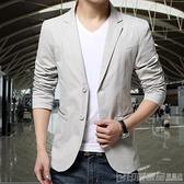 春秋季男士西服上衣純棉修身西服男青年加大碼休閒薄款西裝男外套 印象家品