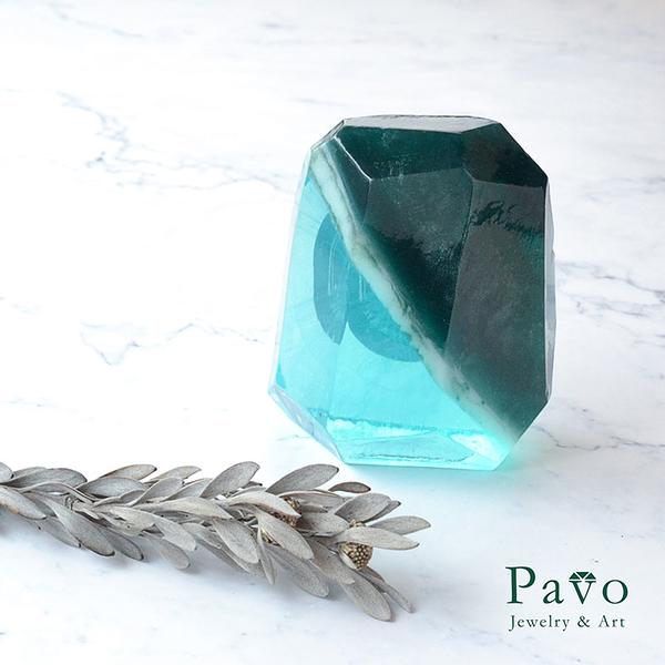 【拾壹號倉庫】【Pavo】藝術寶石皂 三月誕生石-海水藍寶 Aquamarine