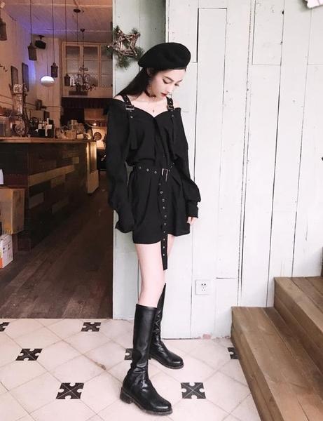 秋季復古暗黑吊帶露肩系腰帶寬鬆大尺碼長袖襯衫連身裙女胖MM200斤 【快速出貨】
