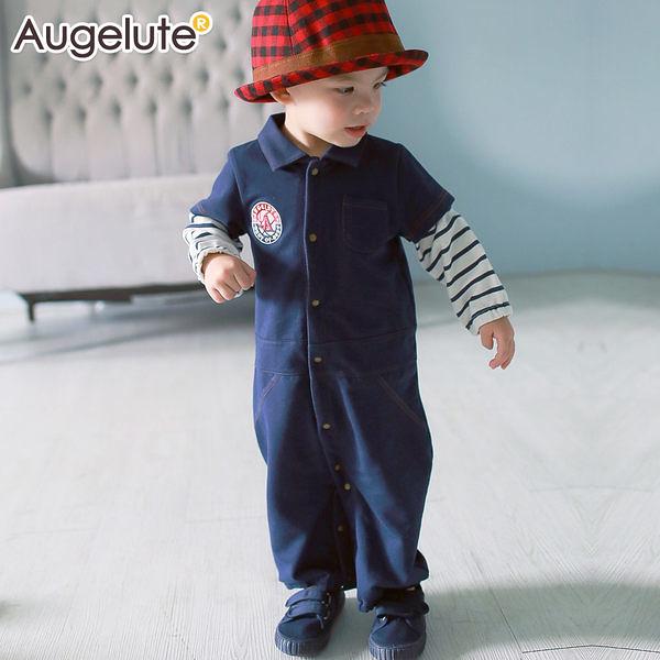 長袖連身衣 假兩件 仿牛仔 工作服 男童 爬服 哈衣 Augelute Baby 47121