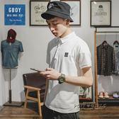 潮流T恤男短袖日系純色笑臉休閒POLO衫青年修身水洗上衣