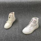 高筒鞋皇冠外貿女鞋年夏季新款時尚圓頭休閒系帶輕便高筒鞋女單鞋 小天使
