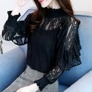大碼女裝 長袖襯衫 韓版顯瘦長袖超仙上衣燈籠袖蕾絲小衫FF1FA027日韓屋