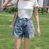 牛仔短褲 女夏季薄款高腰顯瘦韓版寬鬆顯瘦破洞網紅風a字熱褲ins潮 JX2340『Bad boy時尚』