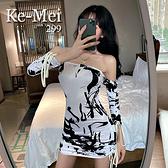 克妹Ke-Mei【AT70225】獨家 歐美單!復古名媛水墨印花露肩一字領洋裝