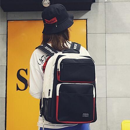 限定款男女後背包正韓大容量後背包bf風街頭男女學生背包新品多層旅行電腦書包