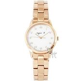 【台南 時代鐘錶 agnes b.】BU9034P1 太陽能 手寫風 羅馬字 鋼錶帶女錶 V117-KVY0K 玫瑰金 27mm
