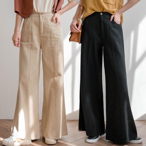 現貨-MIUSTAR 鬆緊腰前車線斜紋布寬褲(共3色)【NJ0057】