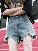 牛仔短褲 牛仔短褲女寬鬆高腰顯瘦薄款闊腿a字熱褲外穿【快速出貨】