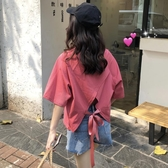 寬鬆顯瘦露背交叉純色短袖網紅恤女裝港味上衣潮