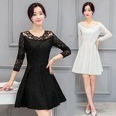 長袖洋裝 韓版時尚修身顯瘦刺繡中長款鏤空長袖蕾絲洋裝女裝〖米娜小鋪〗