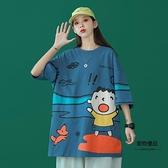 T恤女原宿風短袖寬鬆韓版鹽系涂鴉上衣小眾半袖【聚物優品】