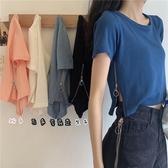 開叉T恤 純棉t恤女短袖2020年新款夏設計感小眾拉鏈側邊開叉高腰短款上衣-米蘭街頭