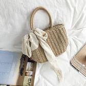 luomi 18夏森系手工草編包編織包手提包旅游度假沙灘絲巾女包小包