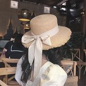 平頂綁帶拉菲草草帽ins網紅蝴蝶結毛邊女夏季度假沙灘大檐遮陽帽 蘇菲小店