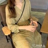 碎花裙-碎花寬鬆法式洋裝春秋季新款收腰顯瘦裙中長款雪紡裙子 提拉米蘇