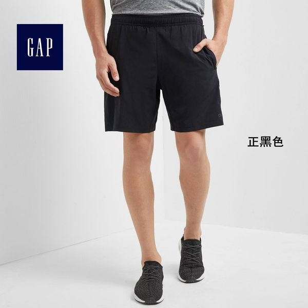 GapFit男裝 中腰男士休閒五分褲 鬆緊腰彈力運動短褲男316739-正黑色