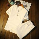 新款男裝中國風短袖套裝男生t恤大碼短褲夏天5五分褲休閒運動衣服   麥吉良品