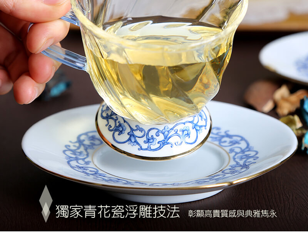 晶豔亞洲咖啡杯碟-(200ml) 玻璃杯 茶杯 花茶杯 耐熱杯 咖啡杯 現貨