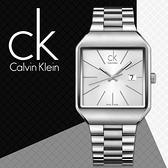 CK手錶專賣店 K3L31166白 方型 時尚紳士錶 石英 夜光指針 礦物抗磨玻璃 不銹鋼錶帶