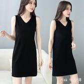 無袖洋裝 黑色吊帶裙內搭打底背心裙女連身裙2020年新款中長款小黑裙 DR36323【Pink 中大尺碼】