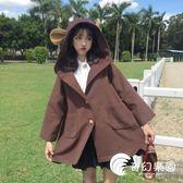 帽T-萌量不足2018流行大衣韓版秋冬女學生耳朵中長款斗篷呢子外套上衣-奇幻樂園