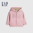 Gap女幼童 Logo仿羊羔絨連帽外套 594192-淡粉色