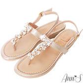 Ann'S夏日公主-訂製蝴蝶結水鑽寶石小坡跟夾腳涼鞋-金