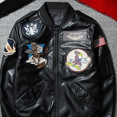 空軍夾克 MA1-帥氣美式徽章設計飛行員男軍裝外套2色73pf11【巴黎精品】