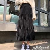 蛋糕裙 百摺裙女2021秋冬新款金絲絨拼接中長款a字蛋糕裙高腰黑色半身裙 愛麗絲