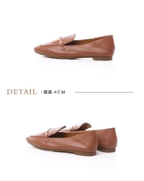 TAS一字金屬釦羊皮樂福鞋–棕咖