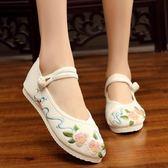 女鞋2019新款布鞋古風鞋子女漢服鞋子繡花鞋配復古平底古裝跳舞鞋