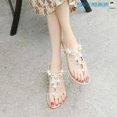 串珠水鑽坡跟涼鞋女平底夾趾海灘鞋