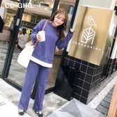 中大尺碼 休閒大學T恤上衣+長褲 兩件式套裝~共兩色 - 適XL~4L《 67222HH 》CC-GIRL