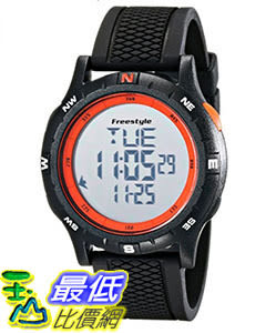 [106美國直購] Freestyle 手錶 Unisex 10017007 B00LCTC4DE Navigator Digital Black Watch with Orange Accents