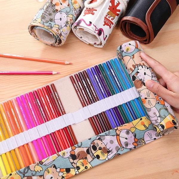 筆簾捲式筆袋帆布大容量女初高中可愛48孔彩鉛素描鉛筆美術繪畫專用36色收納 黛尼時尚精品