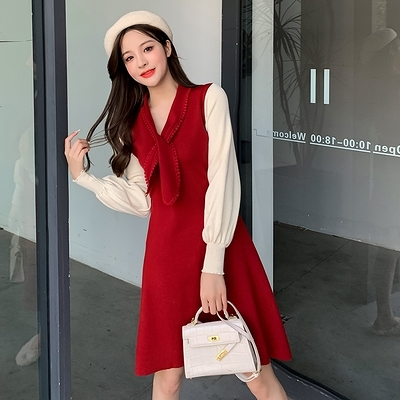 針織連身裙冬季法式複古氣質減齡撞色拼接細帶修身顯瘦針織連身裙 8897T510紅粉佳人