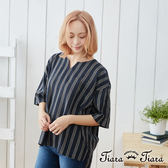 【Tiara Tiara】條紋五分寬袖落肩純棉上衣(深藍/淺藍)